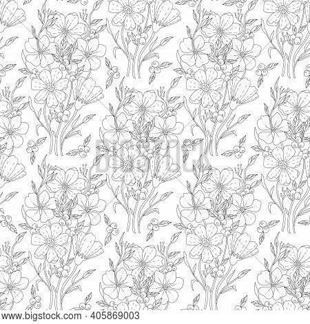 Monochrome Doodle Flower Seamless Pattern For Adult Coloring Book. Vector Sketch Illustration, Hand