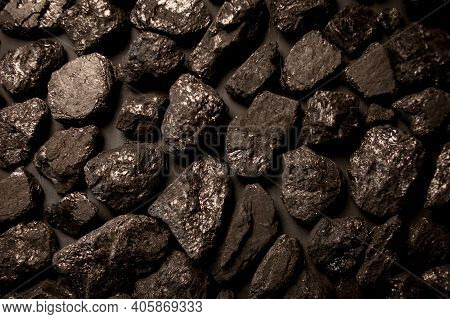 Black Charcoal, Background, Close-up. Black Charcoal Background. Coal Texture, View From Above. Abst