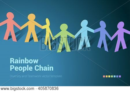 Paper People Rainbow Team In Chain. Flat Design Isometric Vector Concept For Teamwork, Mutual Aid An