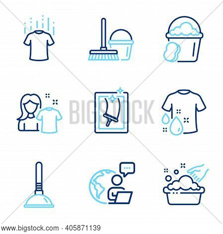 Cleaning Icons Set. Included Icon As Clean Shirt, Hand Washing, Sponge Signs. Window Cleaning, Wash