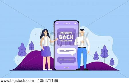 Money Back Guarantee. Phone Online Chatting Banner. Promo Offer Sign. Advertising Promotion Symbol.