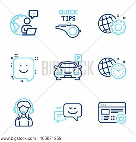 Technology Icons Set. Included Icon As Time Management, Support, Smile Signs. Happy Emotion, Tutoria
