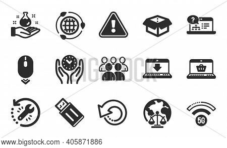5g Wifi, Magistrates Court And Scroll Down Icons Simple Set. Eco Energy, Open Box And Group Signs. S