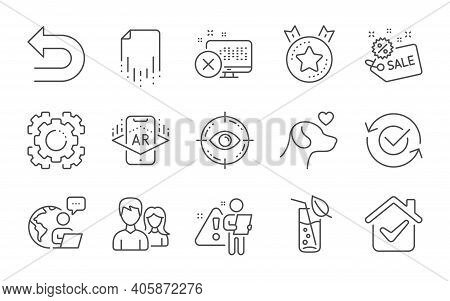 Eye Target, Water Glass And Pets Care Line Icons Set. Approved, Augmented Reality And Ranking Star S