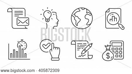 Checkbox, World Planet And Idea Line Icons Set. Analytics Graph, Agreement Document And Report Timer