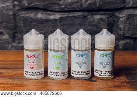 Ufa, Russia, 5 July, 2020: E-liquid E-juice High Vape For Electronic Cigarette Vaping Device , On Co