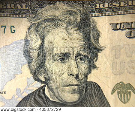 Andrew Jackson On The Front Of A U.s. 20 Dollar Bill. Extreme Close Up.