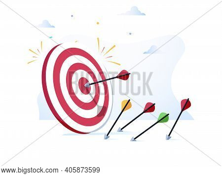 Cartoon Arrows Missed Hitting Target Mark Isolated On White Background. Multiple Fail Inaccurate Att