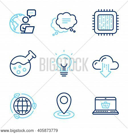 Technology Icons Set. Included Icon As Online Shopping, Cloud Download, Cpu Processor Signs. Locatio