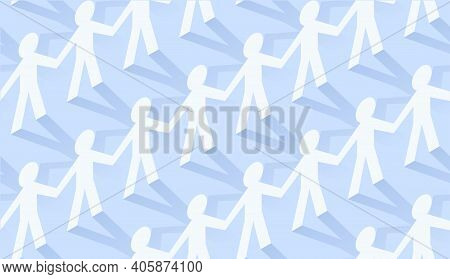 Paper People Team In Chain Seamless Pattern. Flat Design Isometric Vector Concept For Teamwork And M