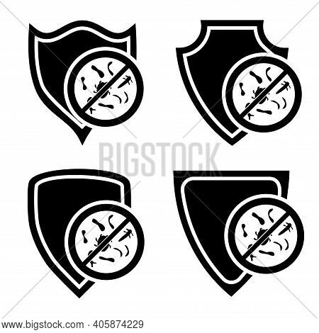 Immune System Concept. Hygienic Medical Black Shield Protecting From Coronavirus. Badges For Materia