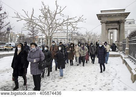 Moscow, Russia - 31 January 2021, Mass Protests In Russia Call For Alexei Navalny's Release. People