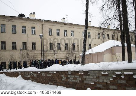 Moscow, Russia - 31 January 2021, Mass Protests Call For Navalny's Release. People Walk Through The