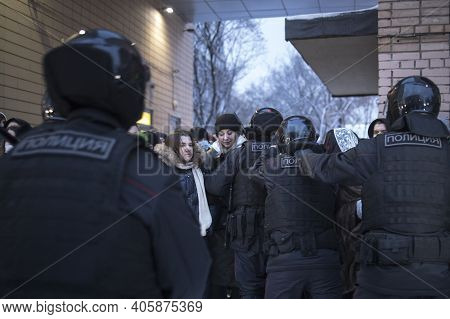 Moscow, Russia - 31 January 2021, Mass Protests In Russia Call For Alexei Navalny's Release. The Pol
