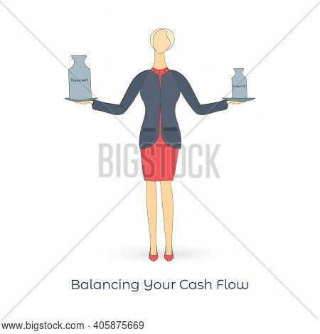 Business Women Weighing The Expenses And Income