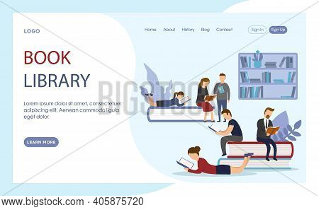Vector Illustration Of Book Library Advert Concept In Cartoon Flat Style. Website Or Webpage Layout