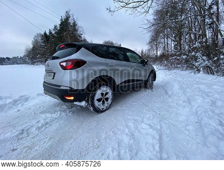 Grodno, Belarus-01.31.2021: Rear View Of A Renault Capture Or Renault Captur Suv On A Winter Road Ag
