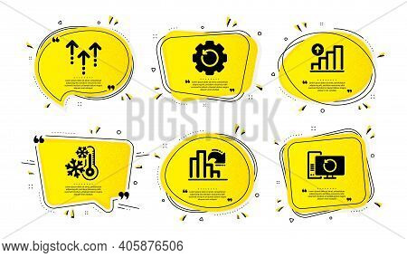 Freezing, Decreasing Graph And Recovery Gear Icons Simple Set. Yellow Speech Bubbles With Dotwork Ef