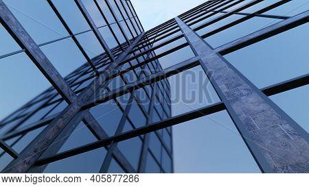 Building Corner Blue Windows Office Skyscraper Tower 3d Illustration
