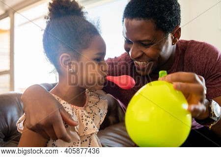 Portrait Of A Daughter And Father Having