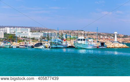 Ayia Napa, Cyprus - June 12, 2018: Agia Napa Port View. Resort Town At The Far Eastern End Of The So