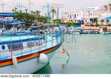 Ayia Napa, Cyprus - June 12, 2018: Agia Napa Marina View, Boats Are Moored Near Fish Restaurant