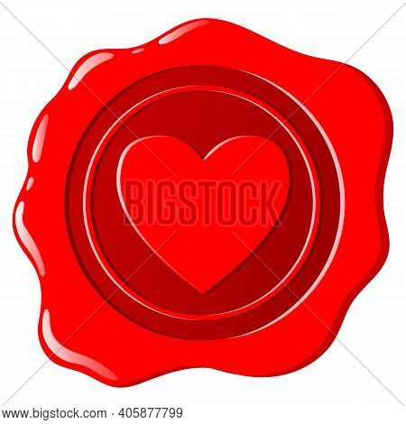 Wax Seal. A Beautiful Depiction Of A Heart Embossed On Wax For Letters With A Love Message.