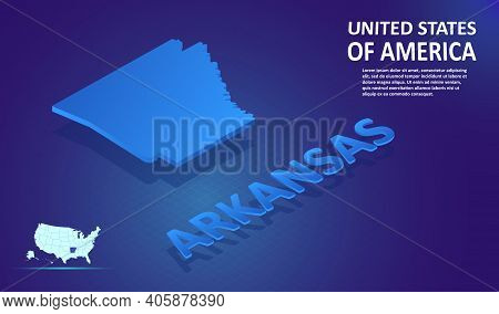 Isometric Arkansas State Map On Blue And Glowing Background. 3d Detailed Map In Perspective With Pla
