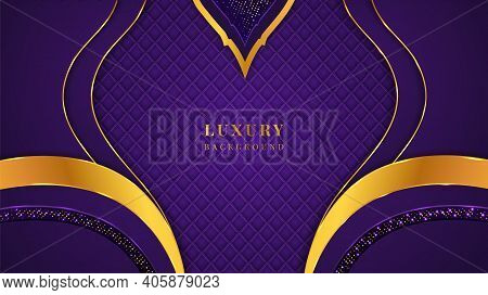 Luxury Background With Violet And Golden Shapes, Glitters, Lights, Patterns, And Shadow On A Beautif
