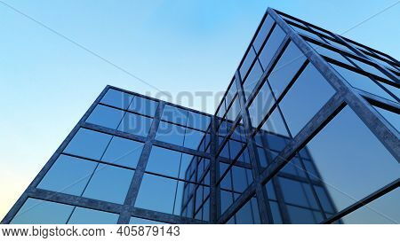 Glass Building Business Office Skyscraper Blue Sky 3d Illustration