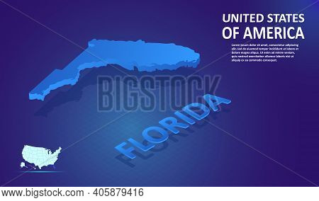 Isometric Florida State Map On Blue And Glowing Background. 3d Detailed Map In Perspective With Plac