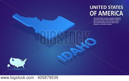 Isometric Idaho State Map On Blue And Glowing Background. 3d Detailed Map In Perspective With Place