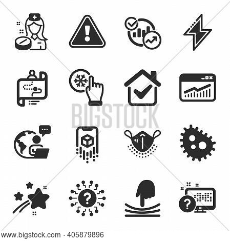 Set Of Science Icons, Such As Bacteria, Energy, Nurse Symbols. Elastic, Journey Path, Augmented Real