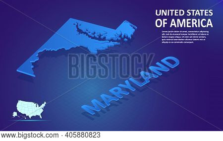 Isometric Maryland State Map On Blue And Glowing Background. 3d Detailed Map In Perspective With Pla