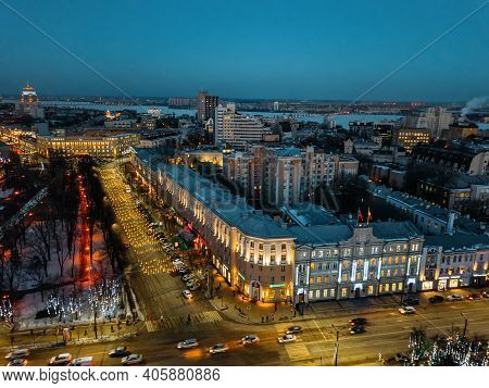 Night Voronezh Central District. Aerial Panoramic View Of Downtown Taken By Drone