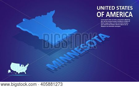 Isometric Minnesota State Map On Blue And Glowing Background. 3d Detailed Map In Perspective With Pl