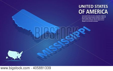 Isometric Mississippi State Map On Blue And Glowing Background. 3d Detailed Map In Perspective With