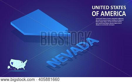 Isometric Nevada State Map On Blue And Glowing Background. 3d Detailed Map In Perspective With Place