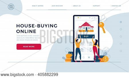 House-buying Online, Template For Homepage. Couple Touching The Button On Monitor Screen, Buy A Home