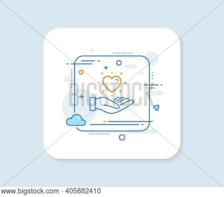 Hold Heart Line Icon. Abstract Square Vector Button. Friends Love Sign. Brand Ambassador Hand Symbol