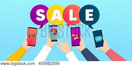 Final Sale, Last Minute Offer And Hot Deal Set. Banner With Mobile Phones In Hands. Final Discount S