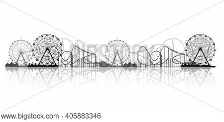 Ferris Wheel. Funfair Carnival Background. Circus Park. Roller Coaster. Vector Illustration.