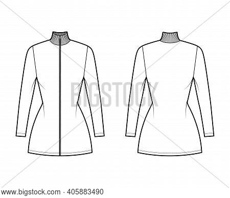 Turtleneck Zip-up Dress Technical Fashion Illustration With Short Sleeves, Mini Length, Fitted Body,