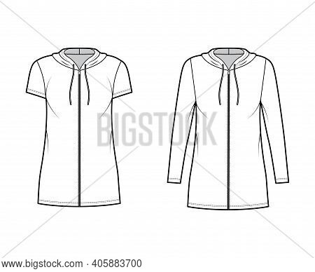 Hoodie Zip-up Dress Technical Fashion Illustration With Long, Short Sleeves, Mini Length, Oversized
