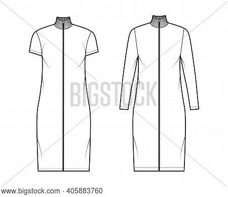 Turtleneck Zip-up Dress Technical Fashion Illustration With Long, Short Sleeves, Knee Length, Oversi