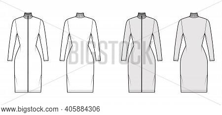 Turtleneck Zip-up Dress Technical Fashion Illustration With Long Sleeves, Knee Length, Fitted Body,
