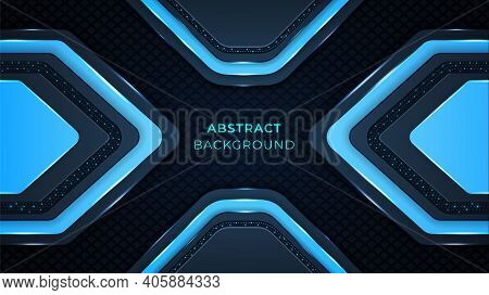Abstract Background With Cyan Color Circuits, Dark Cyan Color Shapes, Metallic Shapes, Glow And Ligh