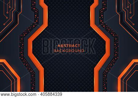 Modern Abstract Background With Orange Color Circuits, Orange Color Shapes, Metallic Shapes, Glow An