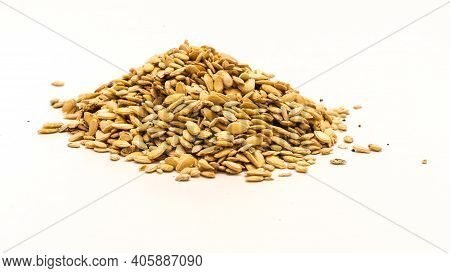 A Mound Of Winter Melon Wax Gourd Seeds Isolated On White Background