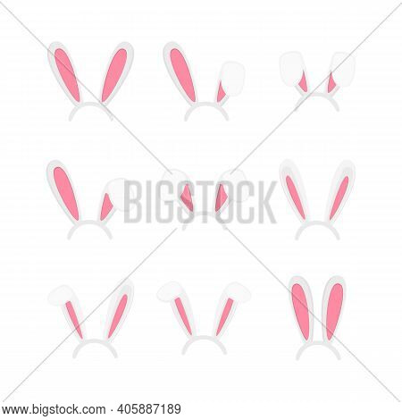 Easter Bunny Ears Mask Set. Cute Rabbit Ears For Spring Time Celebraton Isolated On White Background